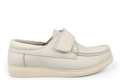 Dek Mens/Womens Crown Touch Fastening Leather Bowling Shoes With Cushioned Insole White