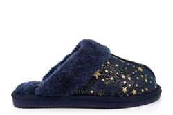 Jo & Joe Girls Tiggi Glitter Star Faux Fur Lined Mule Slippers Navy