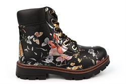 Cipriata Girls Sonia Floral Print Zip Up Fashion Ankle Boots Black