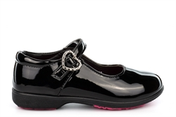BXT Girls Diamante Heart Touch Fastening School Shoes With Padded Insole Patent Black