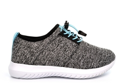 Girls Lightweight Stretchy Trainers With Elasticated Adjustable Lace Grey/Mint
