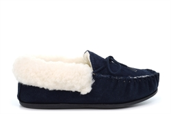 Mokkers Womens Emily Real Suede Moccasin Slippers With Wool Mix Warm Lining And Outdoor Sole Navy