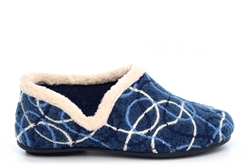 Sleepers Womens Karen Knitted Slip On Slippers With Ergonomic Padded Insole Blue