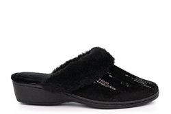 So Comfy Womens Megan Memory Foam Sequin Mule Slippers With Low Wedge Heel And Rubber Sole Black