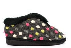 Sleepers Womens Tilly Knitted Textile Lightweight Bootee Slippers With Fleecy Thermal Lining Black